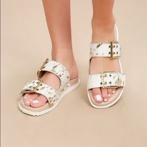 Naughty Monkey leather sandals white/gold - size 9